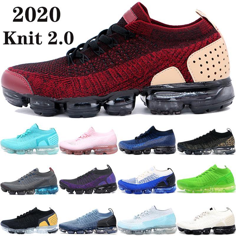 La nueva llegada de punto 2.0 1.0 zapatos corrientes del mens equipo de paquete de chaqueta roja triples negros blancos de la mosca de la medianoche azul marino mujeres de los hombres zapatillas de deporte