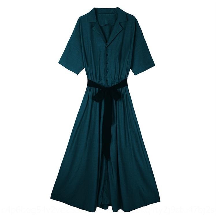 5mYhD K4jJ1 Dunkelgrün Französisch Platycodon grandiflorum Kleid Sommer 2020 Frauen neues hohe elegantes Schlankheits Chiffon- Kleid lang Taille