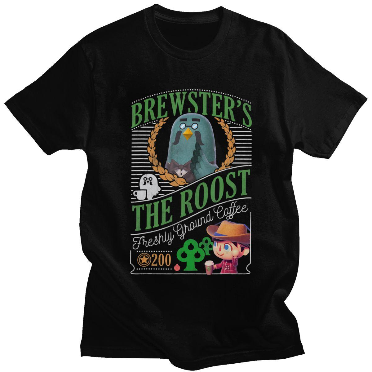 Vintage Animal Crossing T Shirt Men Short Sleeves Casual Brewster's The Roost Cafe Tshirt Loose Fit 100% Cotton Tee Tops Gift