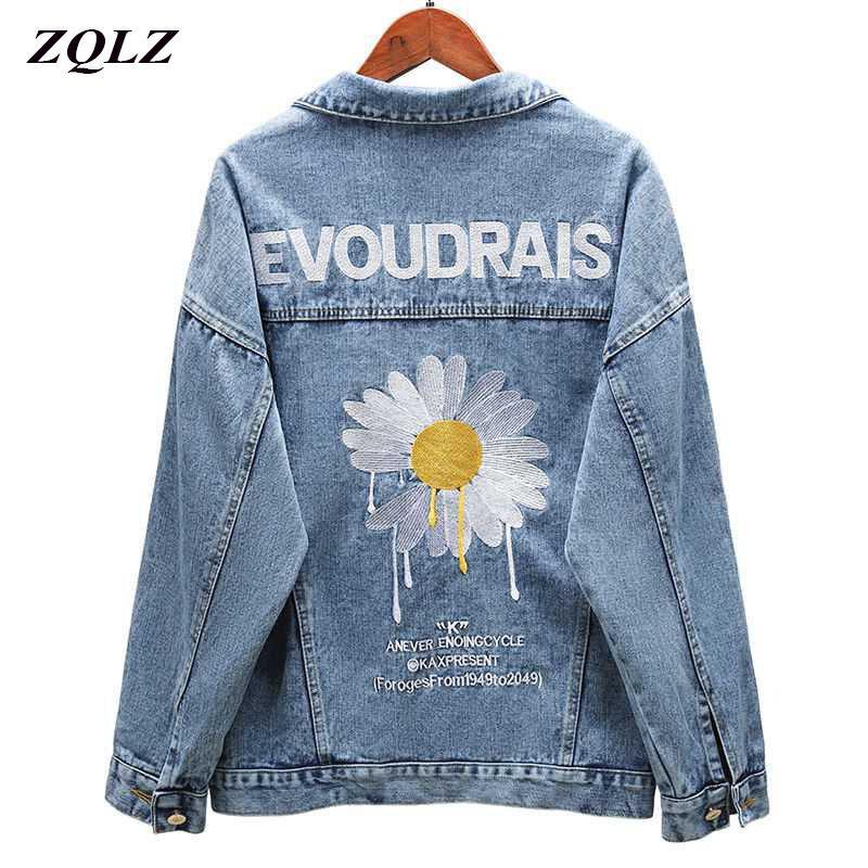 ZQLZ otoño dril de algodón de la chaqueta de las mujeres 2020 nueva capa de bordado Slingle de pecho flojo Primavera Mujer Negro Casual Abrigo Mujer T200831