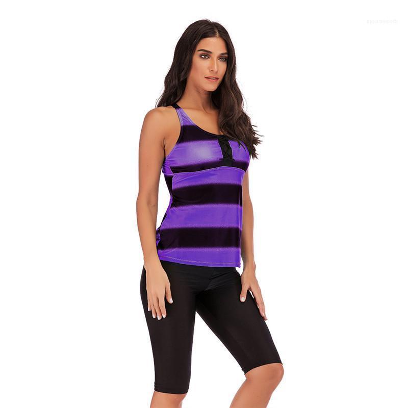 Diseñador para mujer Tamaño define Ropa para Mujer 2PCS traje de baño a rayas gradiente de cuello redondo para mujer traje de baño ocasional más