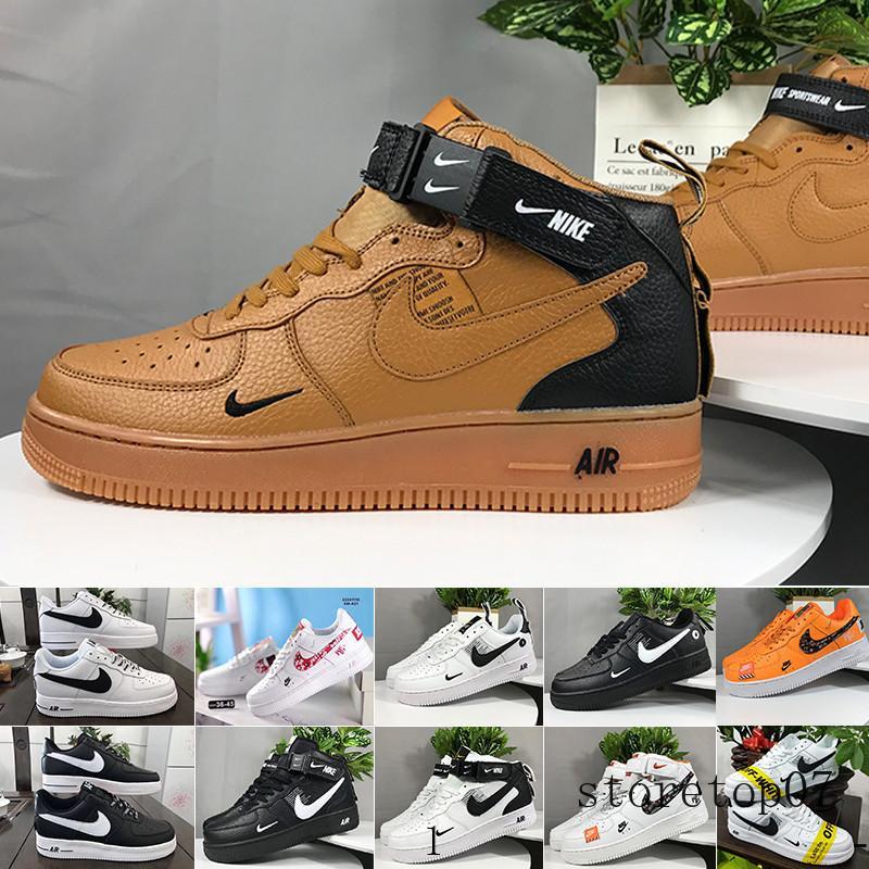 Nike Air Force 1 One Af1 Transporte rápido Venda quente 2018 nova linha de estilo fly Homens Mulheres alta baixo amante Shoes Skate 1 Um tamanho Eur malha 40-45 mesh LK6QC