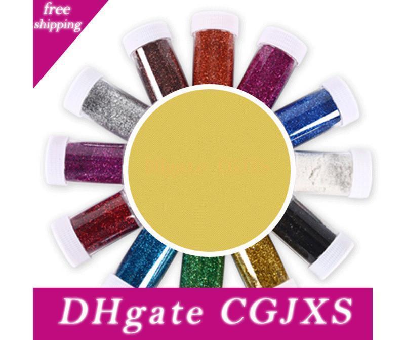 12colors Nail Art Paillettes Mix Glitter Multi Purpose Glitter Shimmer Powder Dust Tumbler utilisation personnalisée Fournitures de bricolage
