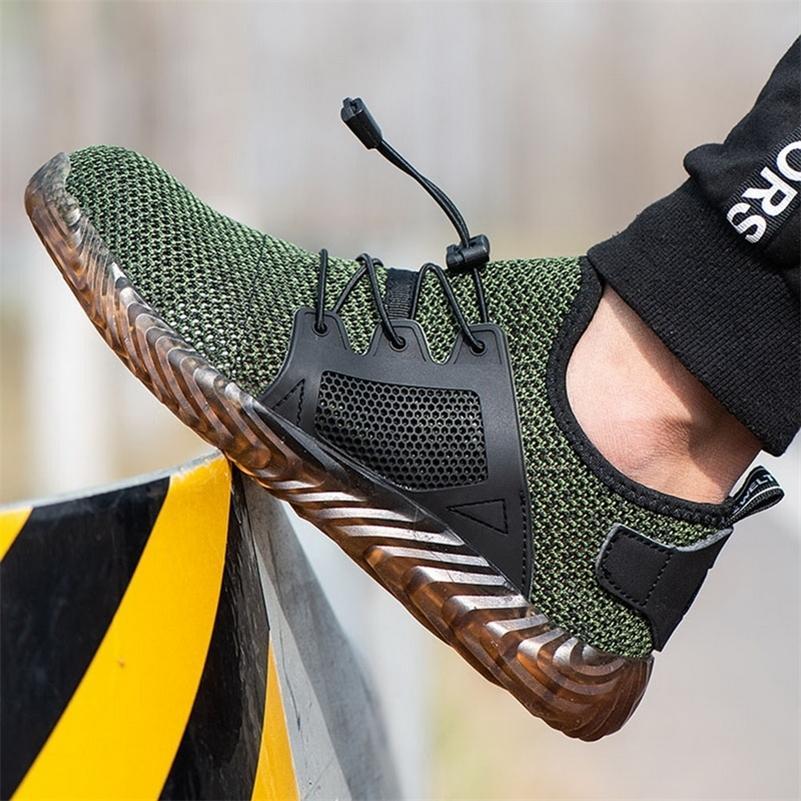 Toe Shujin Ryder Uomini d'acciaio per la sicurezza aerea pattini casuali alla perforazione a prova di scarpa da lavoro scarpe da tennis traspirante Plus Size 36-48 200916