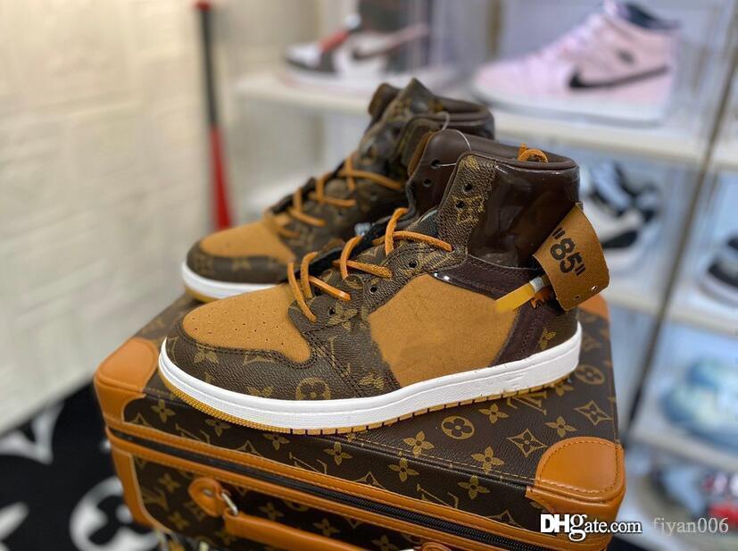 Expédition OFF noir brwon 1 1s chaussures de basket-ball trois baskets mode limité est formateurs Chaussures de sport de luxe avec une valise