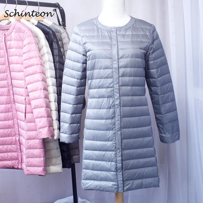 2020 Schinteon 새로운 여성 다운 재킷 울트라 라이트 화이트 다운 롱 코트 슬림 O-목 따뜻한 내부 바닥으로 의류 CX200814 오리