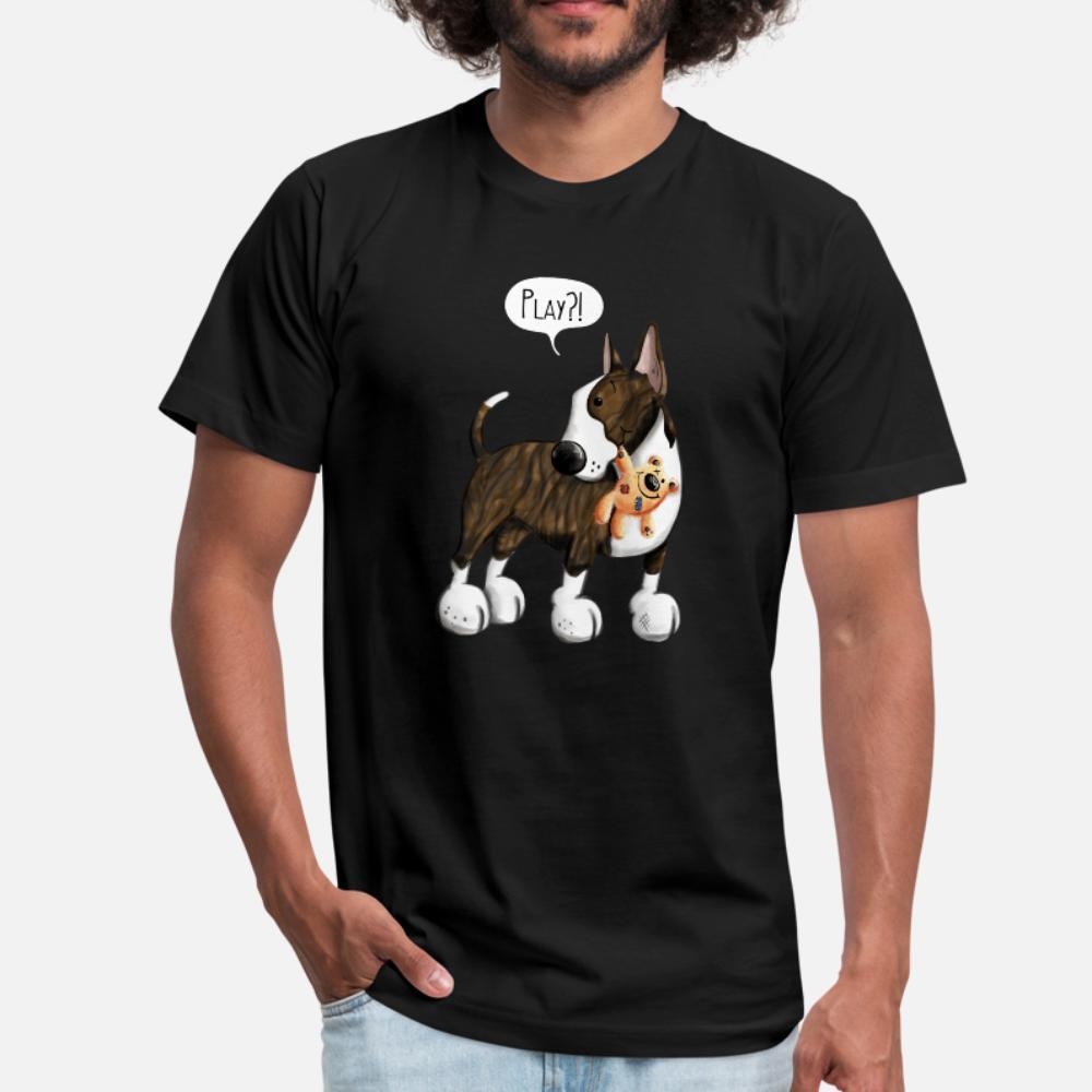 Bull terrier Com Peluche dos desenhos animados presente homens da camisa bonito t designer de 100% algodão plus size 3xl shirt original de Fitness cómico Tendência Verão