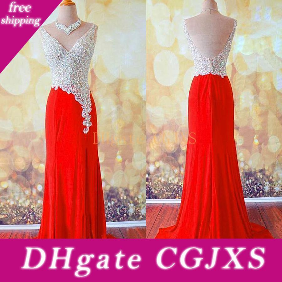 Empfindliche Chiffon, Tüll V-Ausschnitt-Hüllen -Neck Glättung / formale Kleider mit Beadings Strass Red Promkleider Vestidos Fiesta
