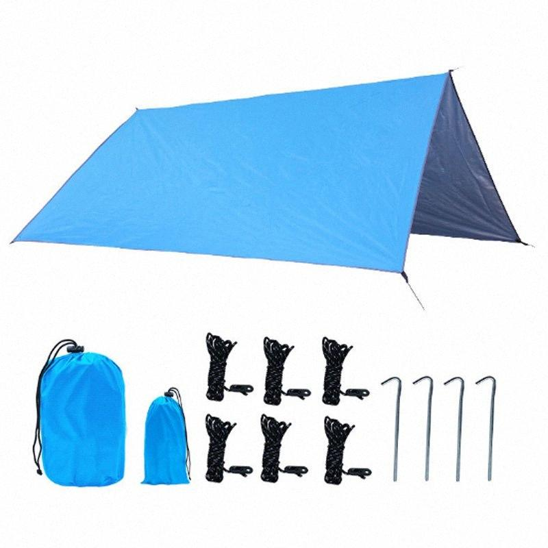 Prata Revestimento anti-UV Ultraleve Sun Shelter Praia Tenda Pergola Toldo Canopy 210D Oxford pano Tarp Camping Sunshelter nGkO #