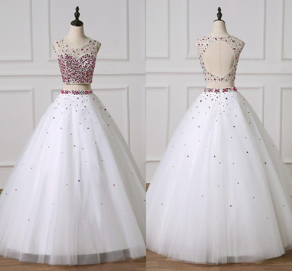 2021 White A-line Vestiodes De Quinceanera Prom Dresses 2 Pieces Major Beading Crystal Keyhole Back Long Homecoming Graduation Dress Party