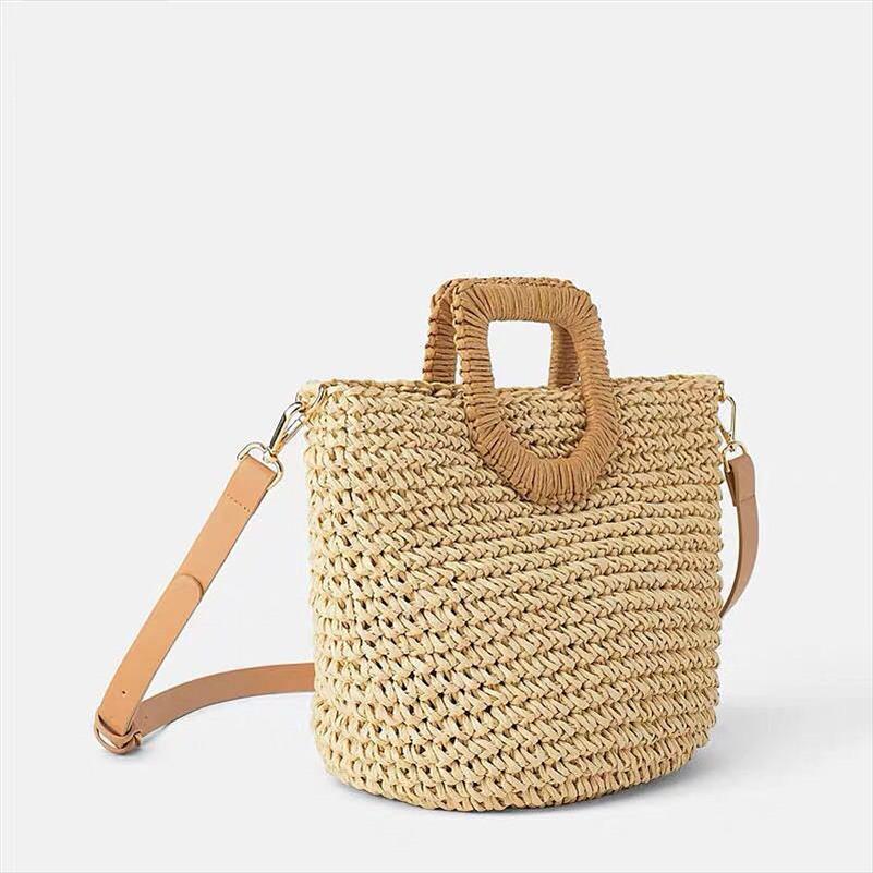 2020 yeni popüler kadın saman torbası kağıt omuzlar el dokuma çanta kaliteli sanat ve hobi kart tatil dokuma çanta plaj