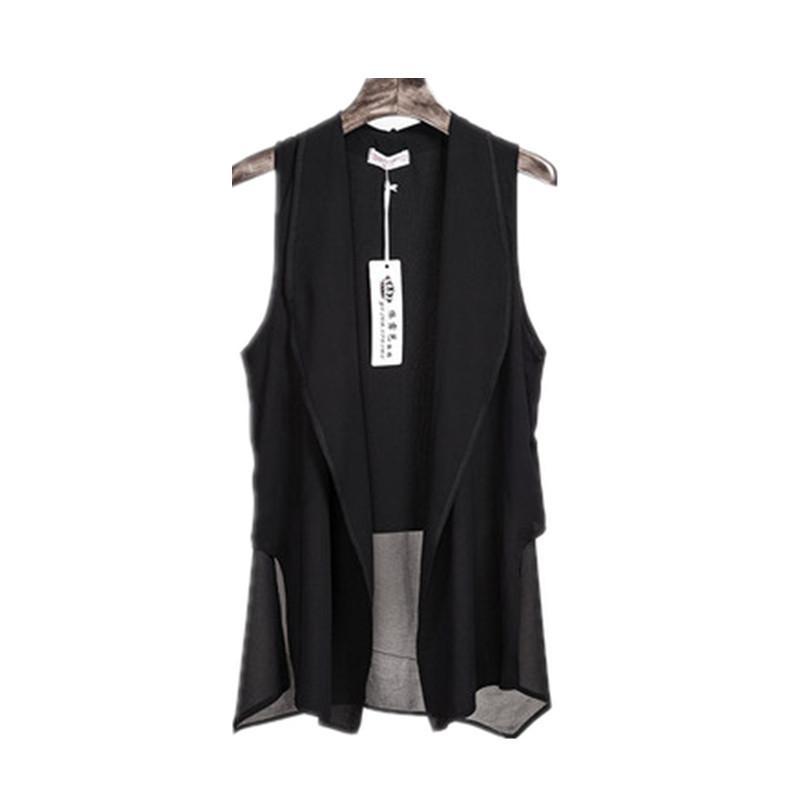 Asimetría de verano blanco gasa larga chalecos para CX200813 manera sin mangas de las mujeres de Corea Cardigan Mujer del chaleco del chaleco Negro capa de la chaqueta