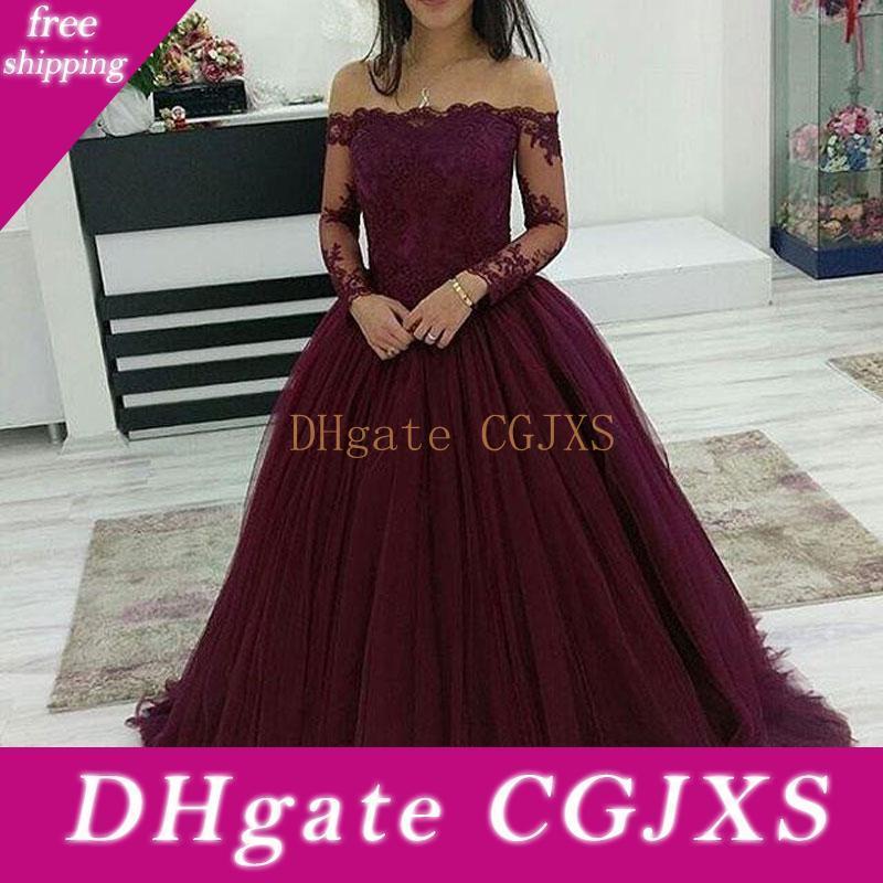 Bourgogne Quinceanera robe de bal 2019 de l'épaule dentelle robes de soirée Sweet Girl 16 Tenues de soirée