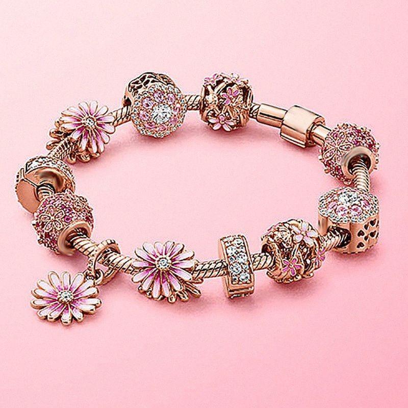 2020 2020 el nuevo 100% 925 Silver Spring joyería de la flor del rosa de los pétalos Mundial ahuecado pulsera de moda de alta calidad Mujer DUqh #