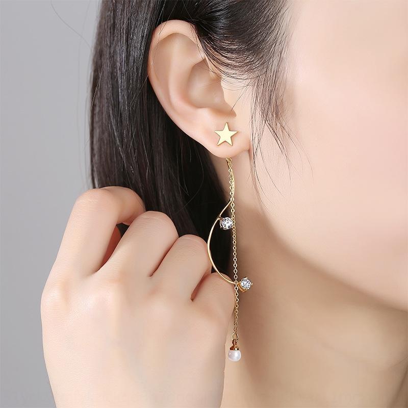 925 Sterling Silber lange Quaste zwei Verschleiß Stern Temperament und Ohrringe geeignet für rundes Gesicht Abnehmen der Ohrringe Geschenk