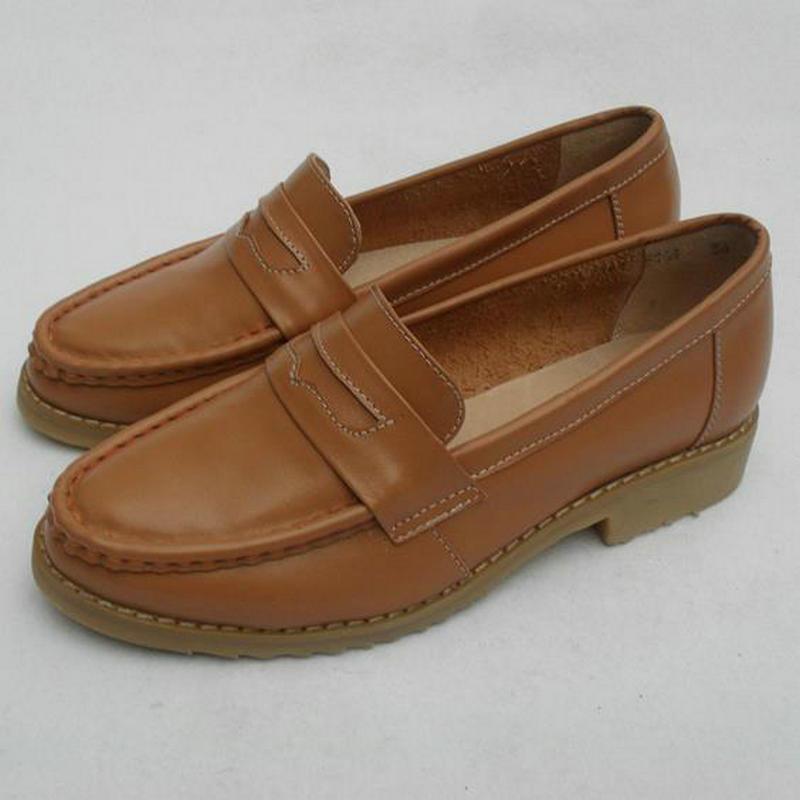 Zapatos Loaers del cuero genuino de las mujeres británicas del viento de las mujeres de bajos superficial del talón Boca Pisos Mocasines