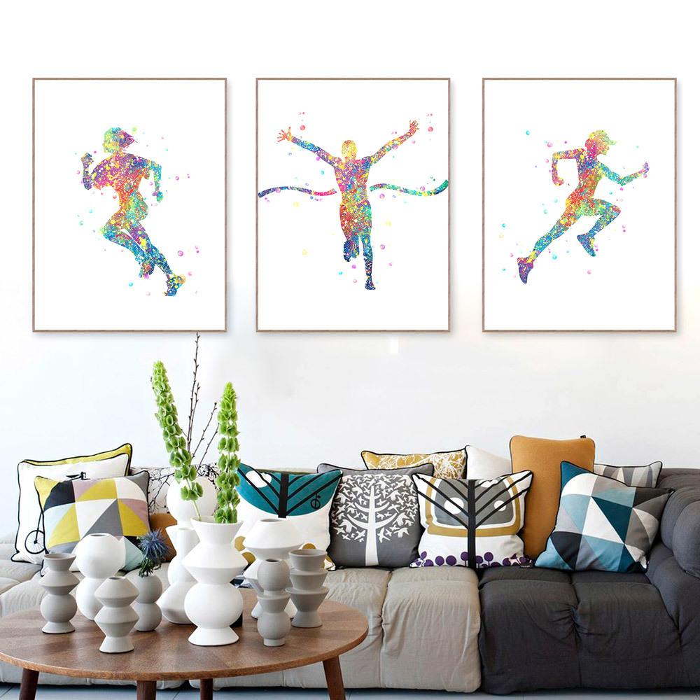 Watercolor Running Poster Canvas Painting Abstract Colorful Black N White Sport Man Wall Picture Living Room Home Decor Gift
