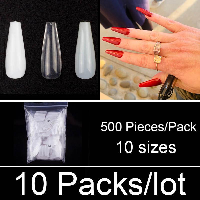 False Nails 10 Packs / Лот 500 Ногтей / пакет длинный гроб Балерина Размеры Полная крышка Акриловые поддельные художественные украшения Маникюр