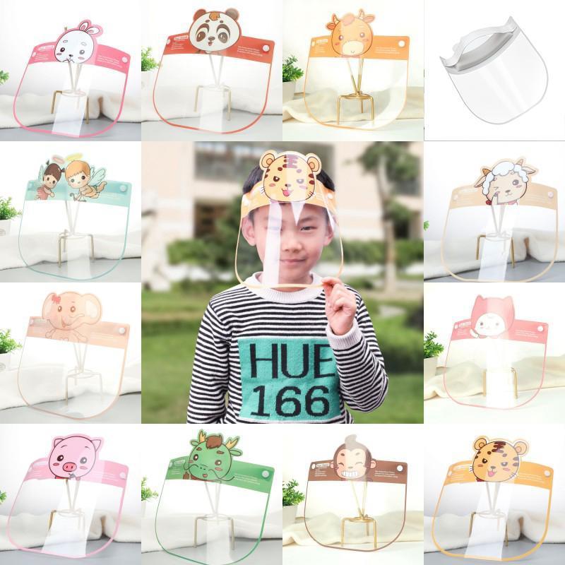 Çocuklar Çocuklar Şeffaf Tam Yüz Koruyucu için Karikatür Yüz Kalkanı Yeniden kullanılabilir Emniyet Anti-Fog İzolasyon Maskeler Maske