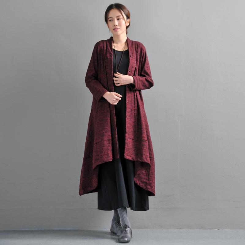 Primavera e l'autunno nuovo stile artistico Windbreaker elegante giacca a vento cappotto di grandi dimensioni formato delle donne allentate di grandi dimensioni irregolari a metà lunghezza del cappotto sM5N