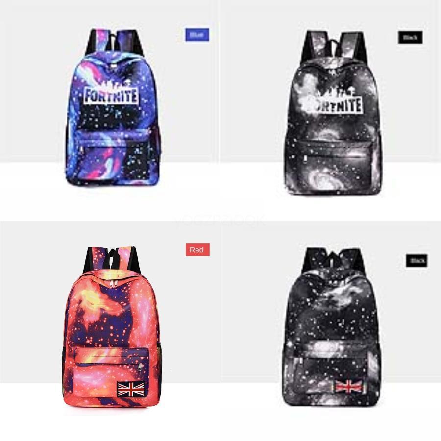 Nuovo retro modo delle donne Fortnite cielo stellato Fortezza Notte zaino PU tela di scuola di alta qualità del sacchetto della nappa Orso Pentagram Pendant # 679