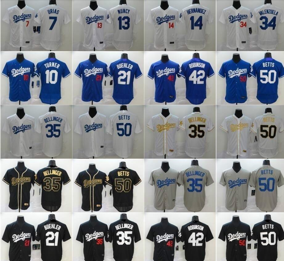 2020 22 Kershaw Baseball Jersey 14 Enrique Hernandez 21 Walker Buehler 42 Jackie Robinson 34 Fernando Valenzuela 7 Julio Urias