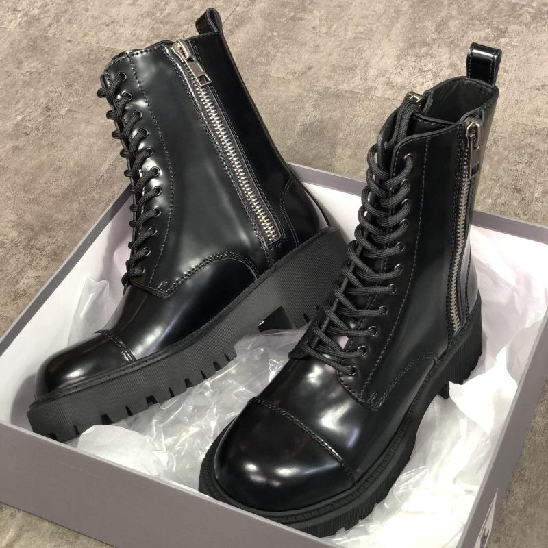 Women TRACTOR 20MM Boot Strike Black Martin Boot 100% Calfskin Lace-Up Ankle Shoes Thick Toothed Rubber Outsole with Side Zipper EU41