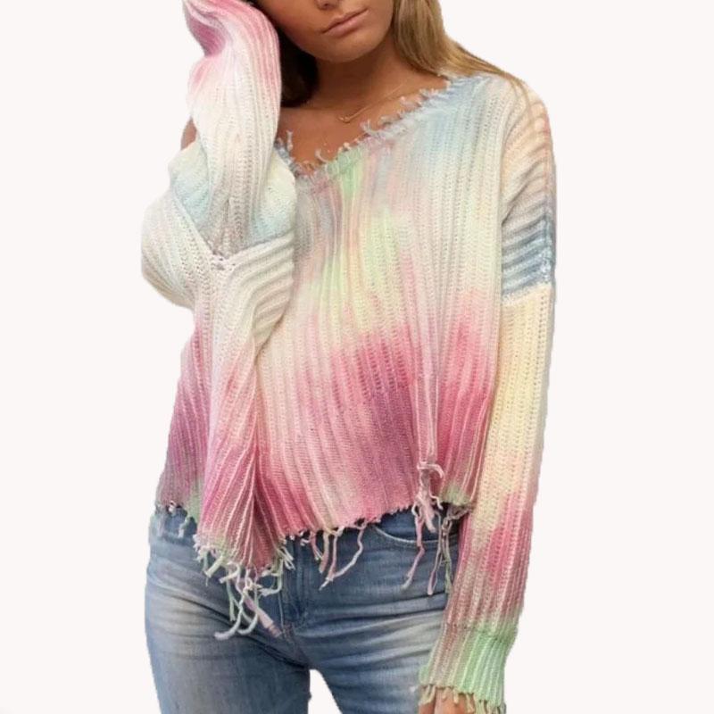 Sexy otoño de alta calidad de manga larga camisetas flojas ocasionales de las mujeres jersey de punto ropa