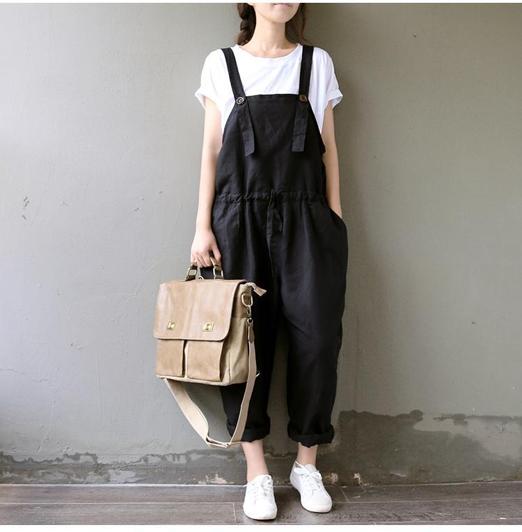 La primavera y el verano de los guardapolvos 2020 Literatura algodón pantalones casuales pantalones del tamaño extra grande de las mujeres negras delgadas de la pierna ancha Harem M-3XL