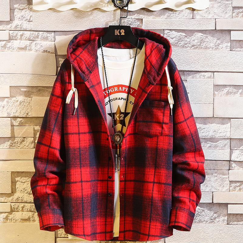 2020 Plaid Hoodie Sweatshirts hommes Flanelle Toison style Hip Hop Punk Streetwear Casual Cardigan manches longues
