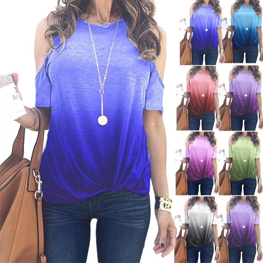 Señoras de las tapas sueltas diseñador ocasional Mujer camisetas del color del gradiente de las mujeres camisetas Verano de rocío del hombro de la manga del O-cuello