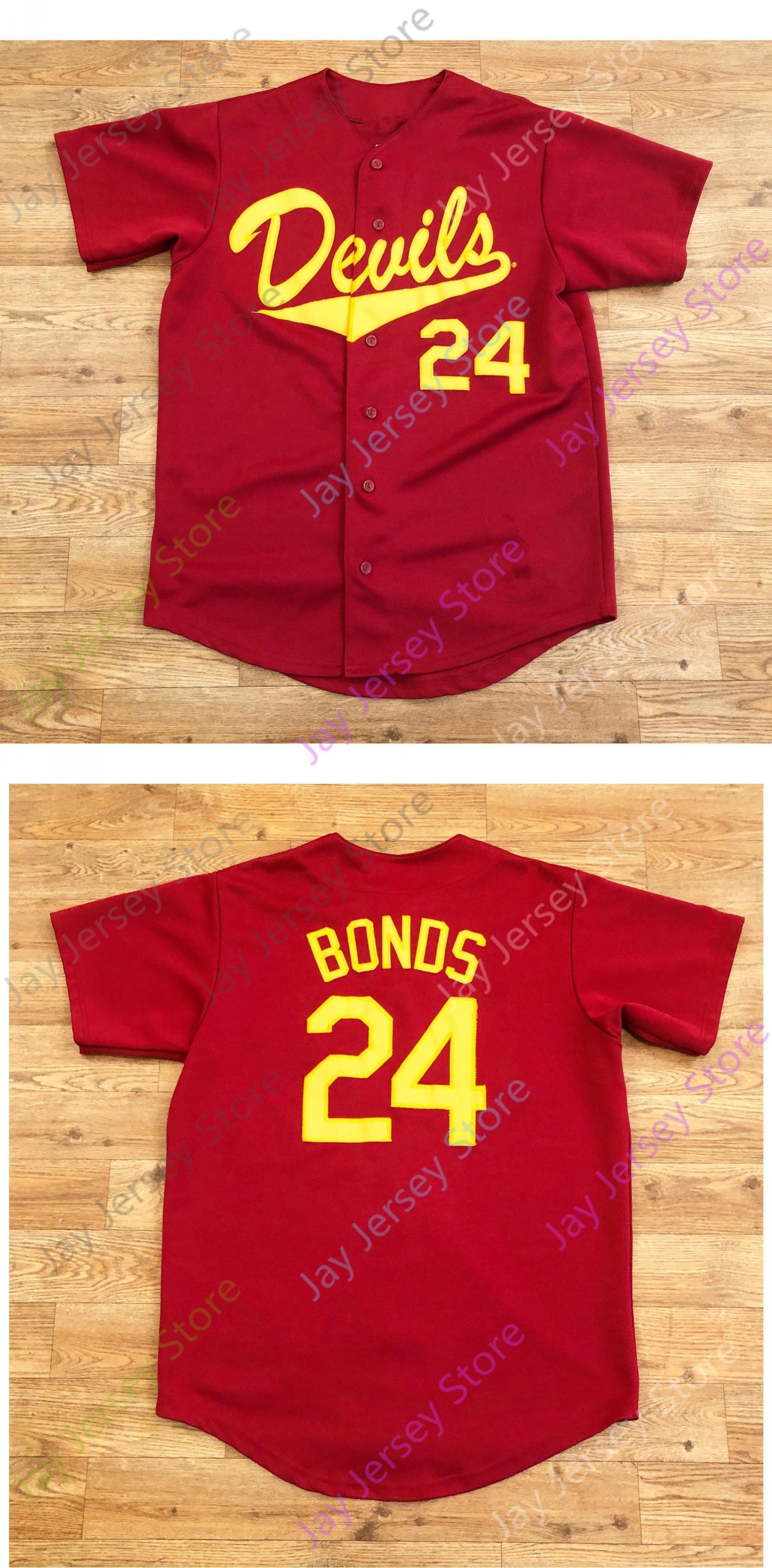 ASU Arizona State College NCAA Baseball Jersey 24 Barry Bonds Jerseys tamanho S-4XL Red Tudo costurado com botões