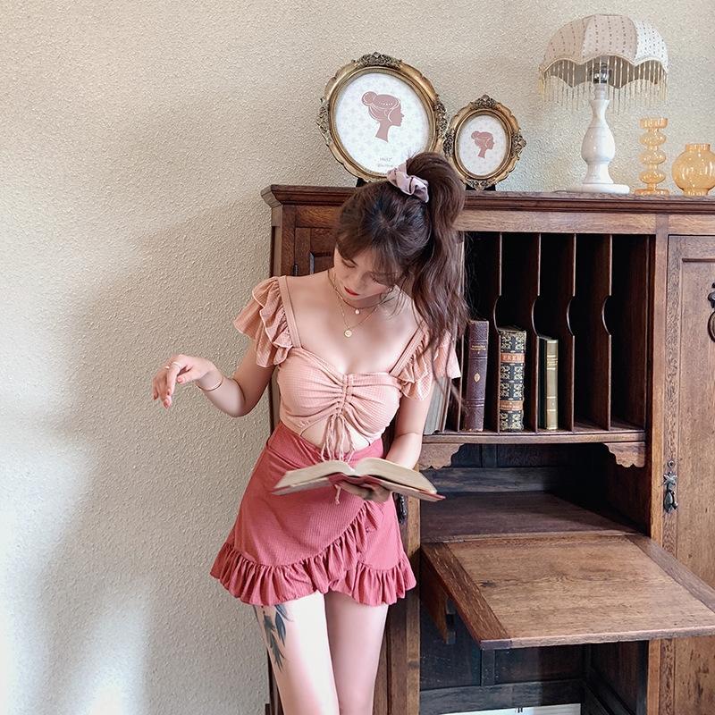 aggraziata moda giapponese e coreano Wen Yifan vestito di un pezzo del vestito delle donne del costume da bagno coulisse Formato cassa ragazze raccolte a caldo swimsu primavera