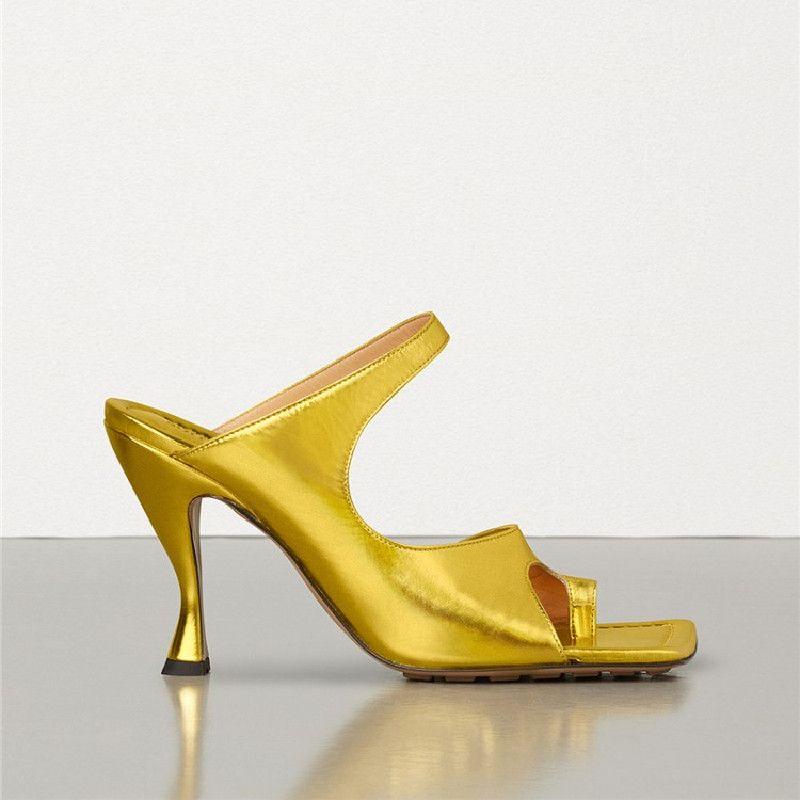 2020 estrellas Cuero genuino Tacones delgados Mujer Sandalias Roma Abre Toe Femmes Sandales Moda Casual Flip-flops Verano