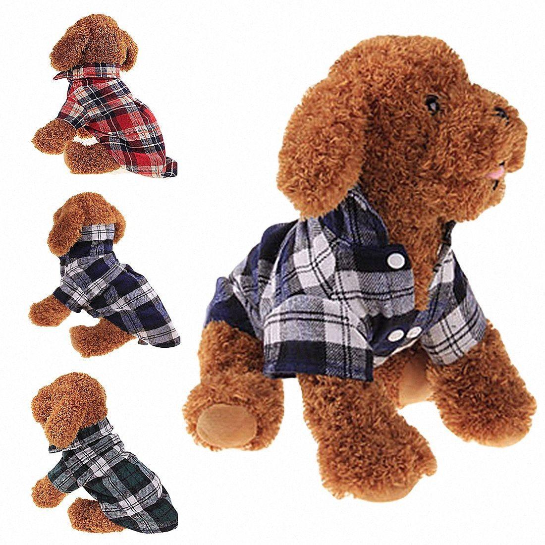 Tela escocesa de la raya t-shirt Camisa del perro del perrito del animal doméstico chalecos de algodón rejilla del gato trajes de ropa del verano del perro de la chaqueta abrigos para perros Camisa C4Ec #