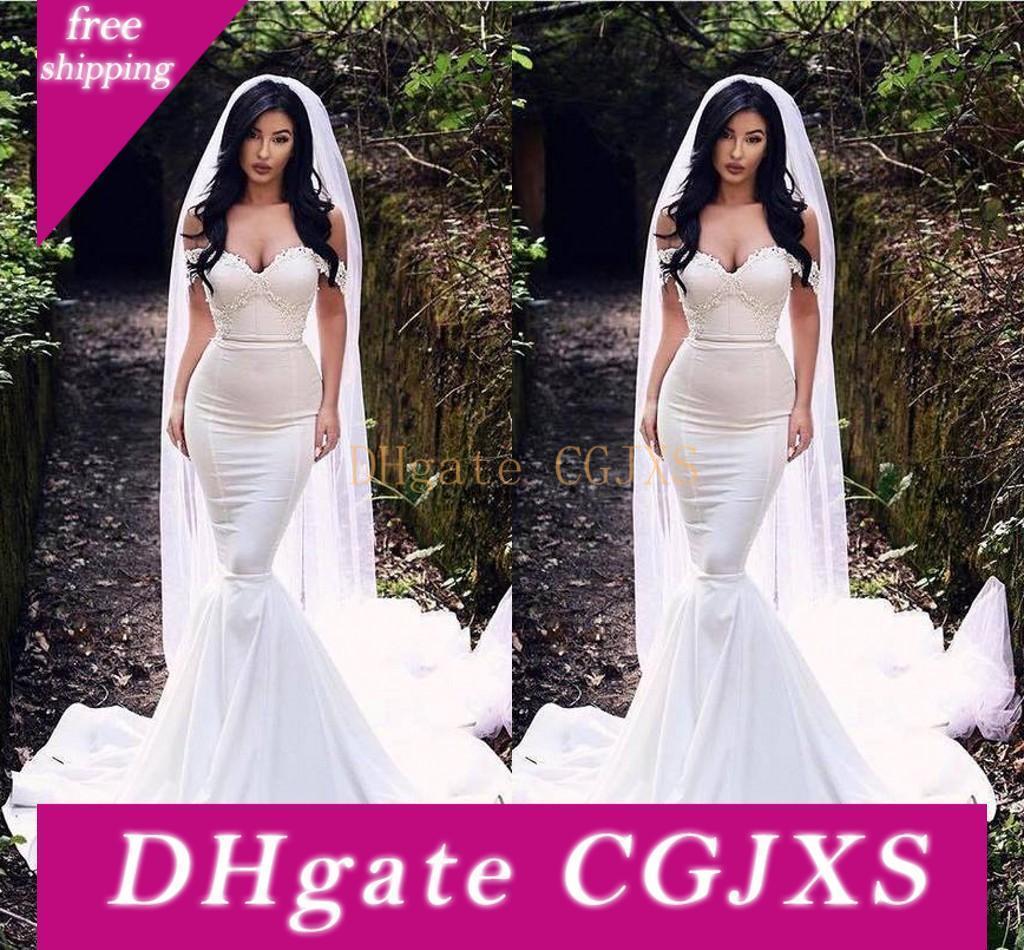 La conception unique de sirène robes de mariage 2019 de l'épaule arabe dentelle robes de mariée avec appliques balayage train Taille Plus De Novia Vestido