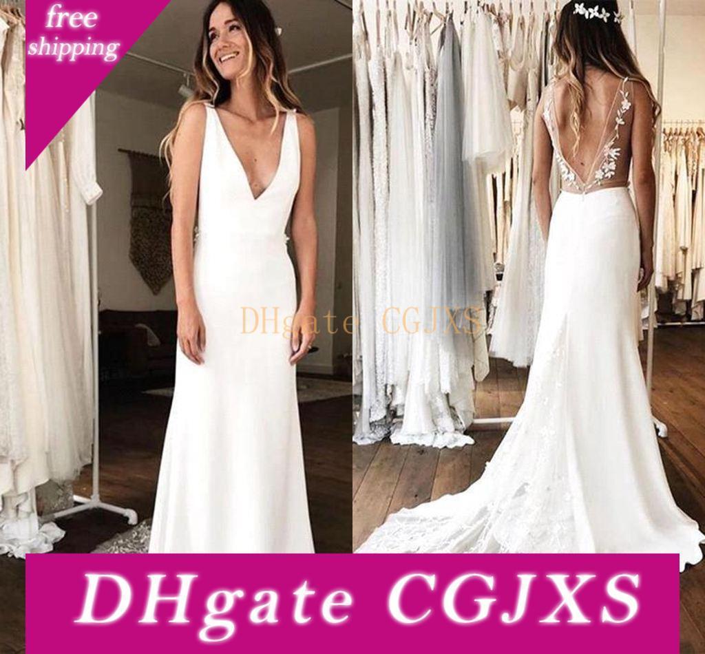 2019 Simple White Günstige Chiffon A -Line Brautkleid elegante Spitze Appliqued Strand Boho tiefer V-Ausschnitt Brautkleid Open Back