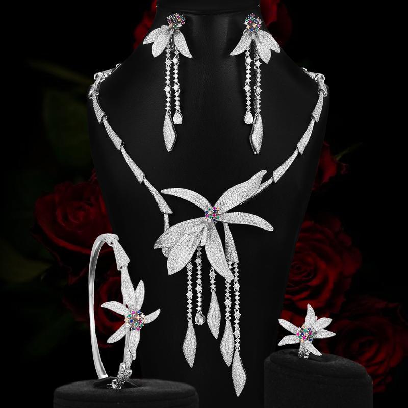Catégorie luxe Collier africaine nuptiale de mariage Ensembles Cubic Zirzonia mariage Bijoux Boucles d'oreilles Bracelet Bague bijoux