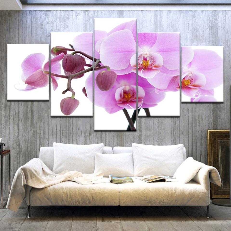5PCS 포스터 캔버스 벽 예술 분홍색 난초 장식 예술 오일은 벽 시팅 룸 (아무 프레임)에 모듈 사진을 회화 인쇄