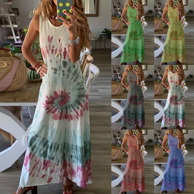 2020 Boho Flower Stampa donne vestito lungo sexy Abito senza maniche maxi spiaggia di estate di stampa Plus Size Fashion Casual Abiti