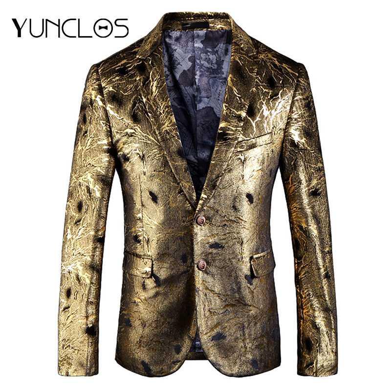 Erkekler Yüksek Kaliteli Pamuk Blazer Ceketler americana hombr için YUNCLOS Altın Baskılı Erkekler Blazer Slim Fit Düğün Suit Ceket