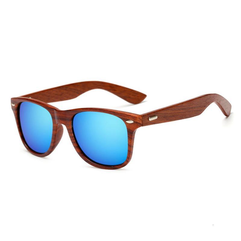 Gafas de sol hechas a mano de madera cuadrado para Hombres Mujeres Espejo de Madera Gafas de sol retro De Sol Masculino