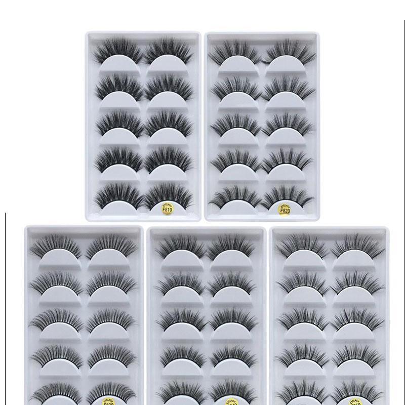 3D Eye cílios grossos cílios postiços 5 pares de False composição eyelashes Mink cílios falsos Macio Natural 12 Models frete grátis