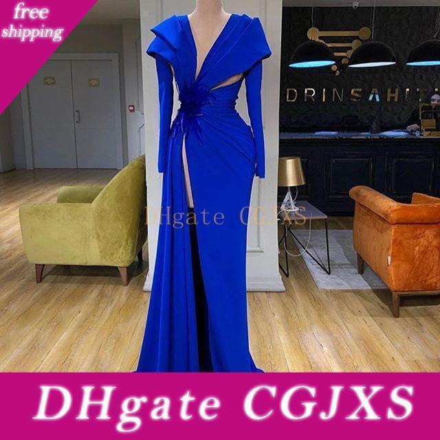 Royal Blue 2020 vestidos de baile de alta división de manga larga vestidos de noche granos de la pluma Arabia árabe vestido formal