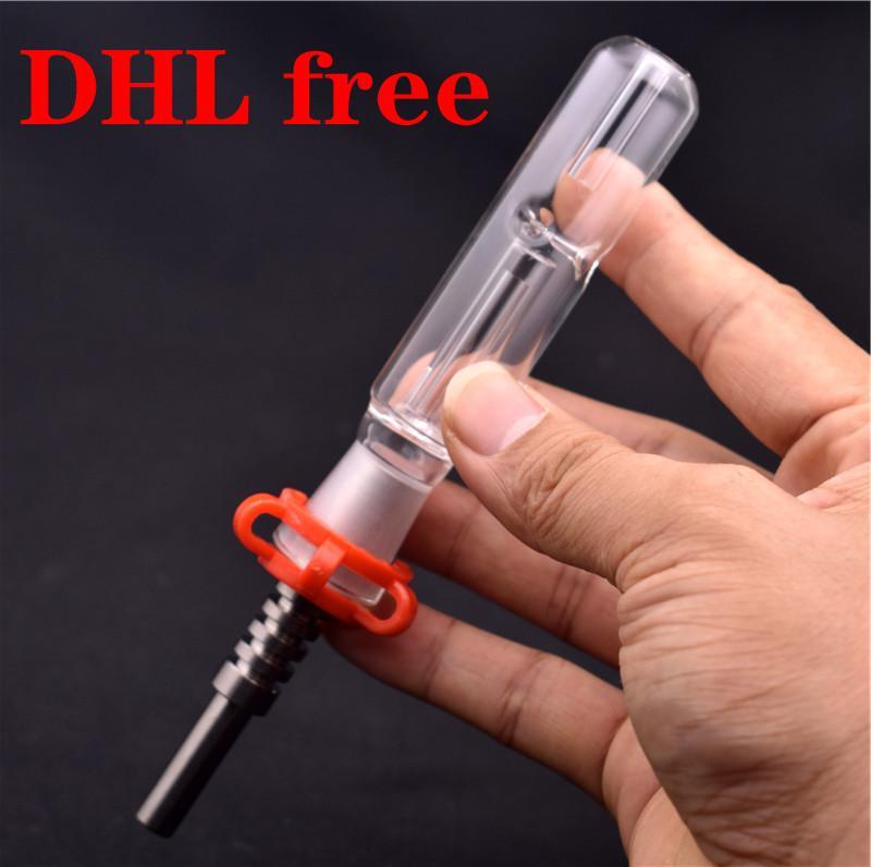 El más barato Rig Kit de paja DAB aceite Mini Bong mano quemador de aceite con puntas de 10 mm 14 mm 18 mm de titanio de cristal de agua Bongs
