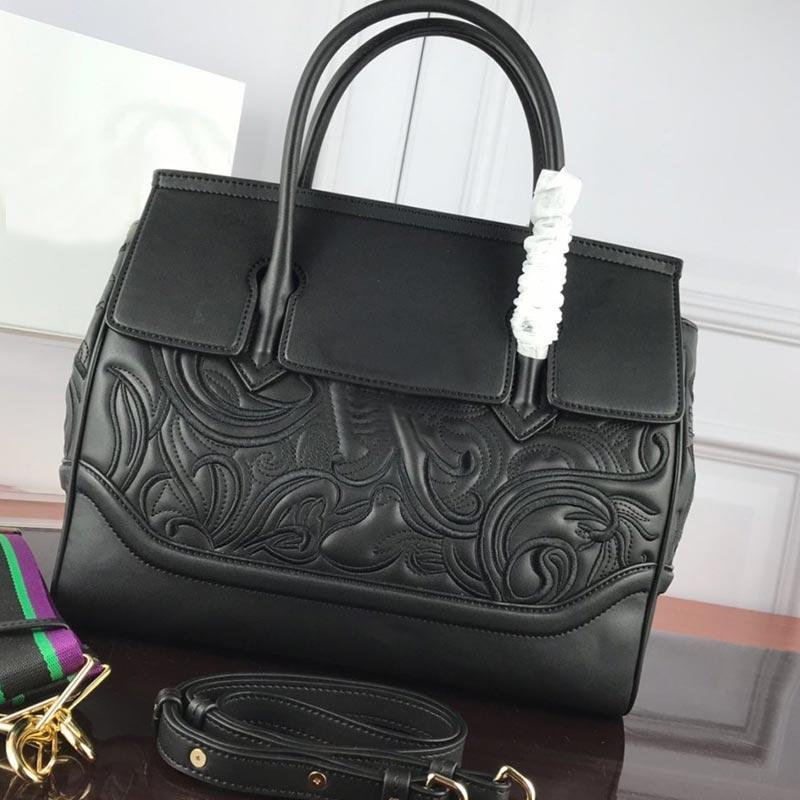 Borse in pelle vera vera di alta qualità crowbody borse in pelle grande nero ricamo nero shopper donne mano signora tote grande borsetta negozio OPDWR