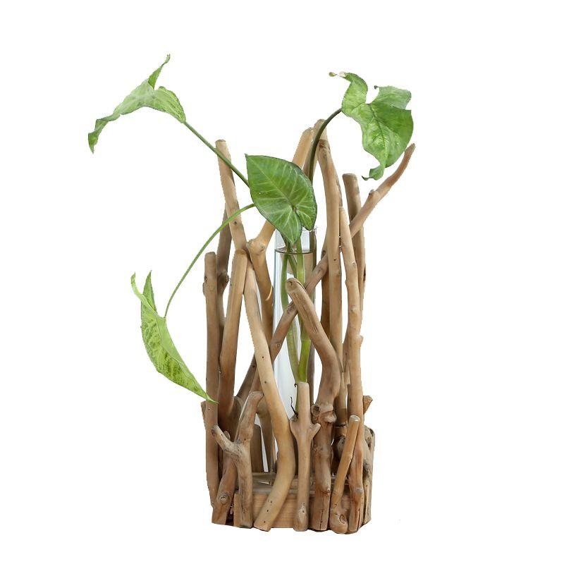 Vases 1 Set Vase Vase Shape Shape Clear Flower Flot avec étagère en bois Stand de bois Hydroponic Conteneur Home Decor Ornement
