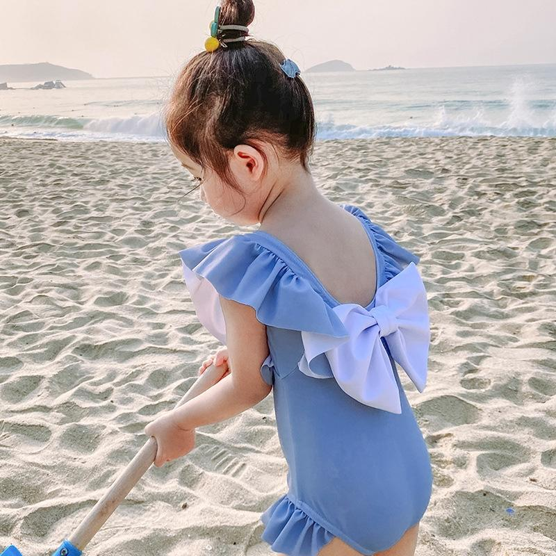 nUxte bebek çocuk Kelebek kızın tek parça çocuk sevimli yay kızın mayo Prenses Kore mayo ins