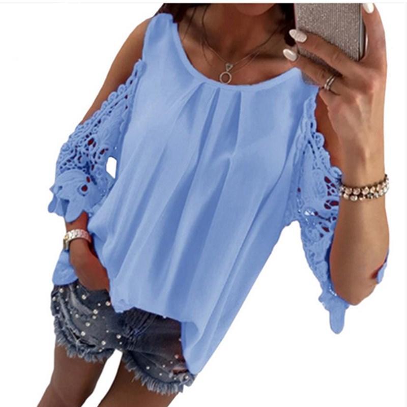 Sommer frauen shirts chiffon bluse tops mode beiläufige spitze patchwork lose shirt sexy aushöhlen aus schulter shnient damen schwarz weiß top