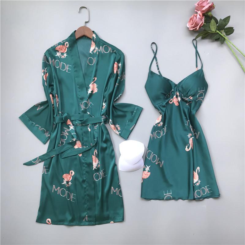 Camicia da notte di estate delle donne sexy Homewear merletto della stampa del fiore di raso Accappatoio 2 collega gli insiemi femminili Notte con la cassa Pads Camicie da notte